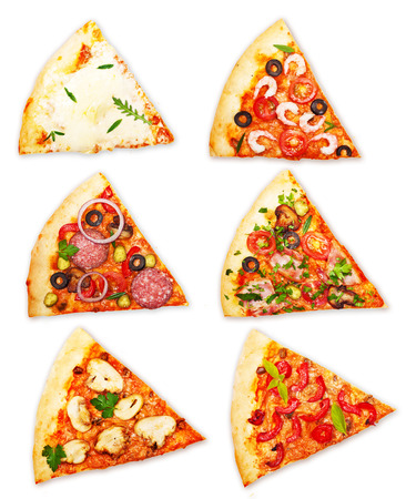 pepperoni pizza: Pizza slice with different toppings isolated on white background. Stock Photo
