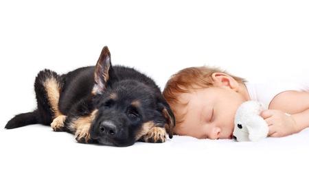 Schlafendes Baby mit Spielzeug Hund und Welpen