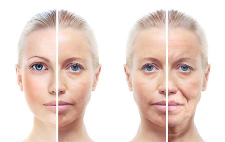 piel rostro: Retrato de la mujer s aislados en blanco, 20,60 a�os