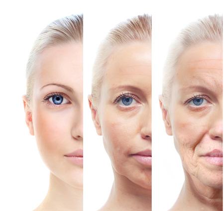 Vrouw s portret geïsoleerd op wit, 20,60 jaar oud