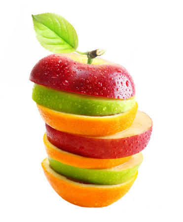 yield: Apples and orange fruit with water drops isolated