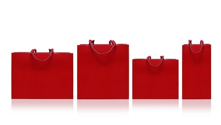 Red shopping bag on a white background