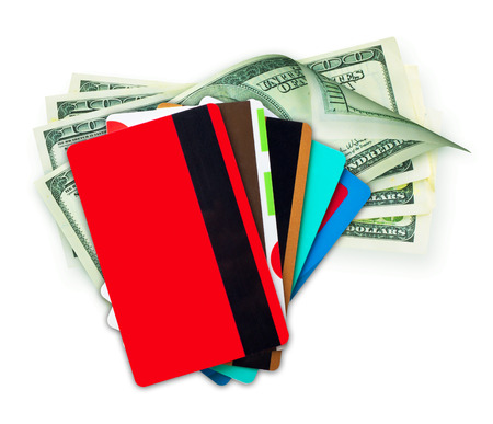 cash card: Money cash and credit, discount cards isolated on a white background Stock Photo