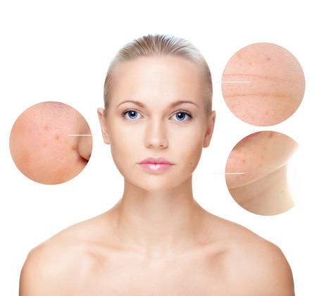 Portrait der sch�nen Frau isoliert auf wei�, die Hautpflege-Konzept.