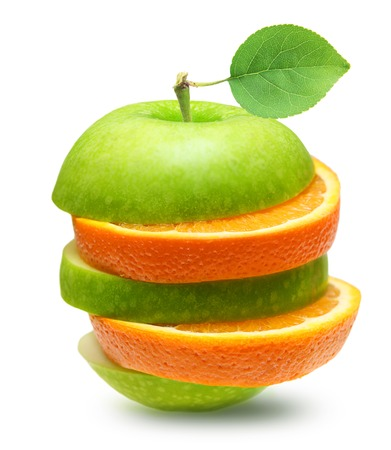 Green apples and orange slices  fruit isolated photo