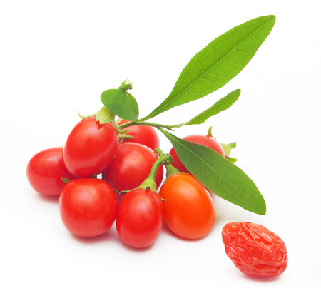 Goji berry isolated on white background.