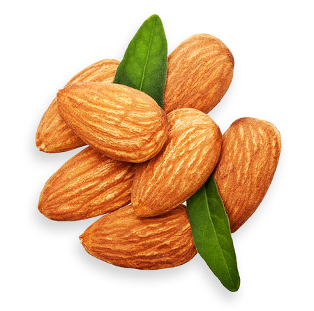 Almonds nuts with leaves isolated on white background. photo