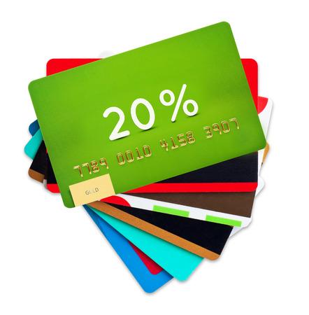 クレジット、白い背景で隔離の割引カード。