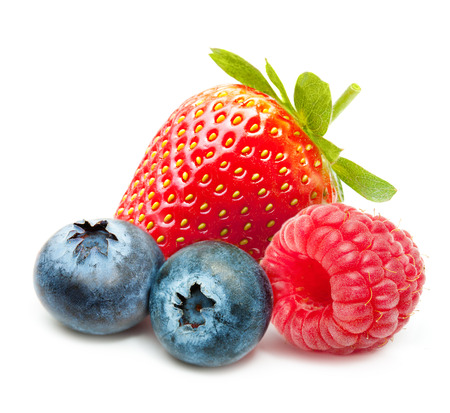 Raspberry, Strawberry and Blueberry Isolated on White Background photo