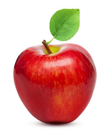 manzana roja: Fruta de la manzana roja con hojas aisladas