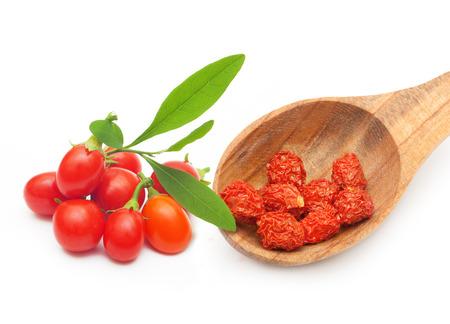 goji: Goji berry dried and fresh isolated on white background.