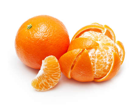 Mandarin, tangerine, orange citrus fruit isolated on white background.