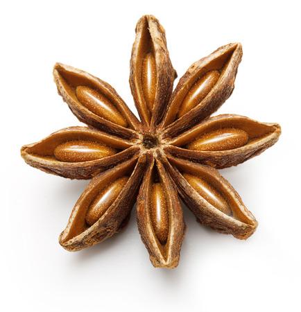 badiane: Star anise, badiane spice isolated on white background