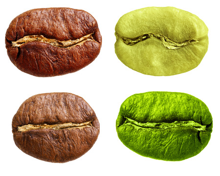 robusta: Black and green arabica, robusta coffee bean, grain isolated on white background. Stock Photo