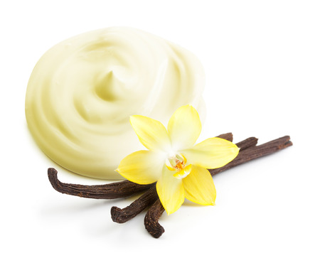 Cream,vanilla pods and orhid flower isolated on white background. photo