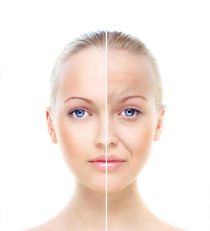 Beautiful woman's portrait isolated on white, before and after retouch
