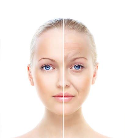 Portrait der sch�nen Frau isoliert auf wei�, vor und nach der Retusche Lizenzfreie Bilder