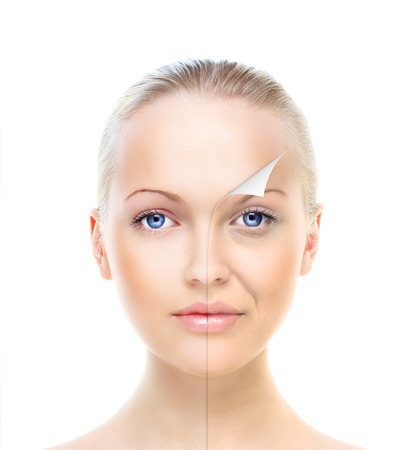 Beautiful womans portrait isolated on white, before and after retouch, beauty treatment, skin care concept. Stock Photo