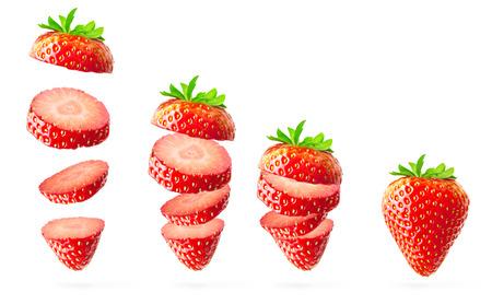 Falling strawberry isolated on white Banco de Imagens