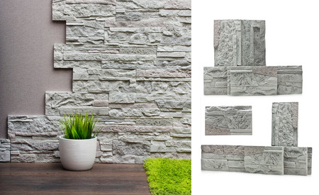 carpet texture: Room interior with stone wall, vinyl wallpaper and wood floor background and stones isolated.