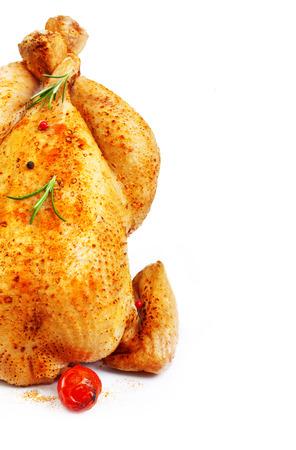 pollo arrosto: Pollo arrosto isolato su sfondo bianco.