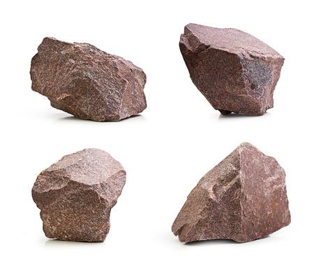 Granite stones,rocks set isolated on white background