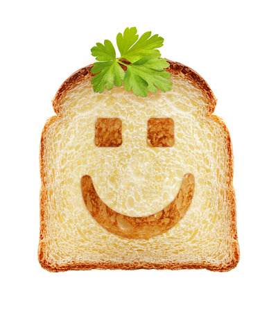 breakfast smiley face: Toast isolated. Bread slice with smiley face on white