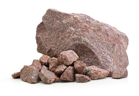 Granieten stenen, rotsen op wit wordt geïsoleerd
