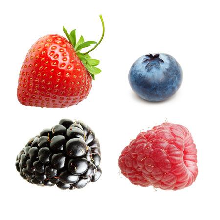 Raspberry, Strawberry, Blueberry, Blackberry  Isolated on White Background