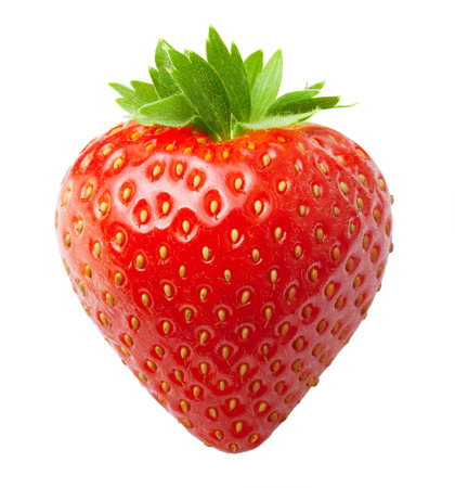 fresa: Fresa baya roja aislada en el fondo blanco