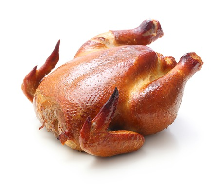 Roast chicken isolated on white background. Zdjęcie Seryjne