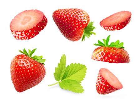 Strawberry macro isolated on white