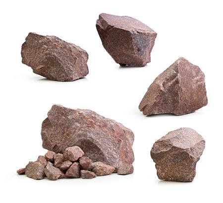 Granite stones, rocks set isolated on white background 스톡 콘텐츠