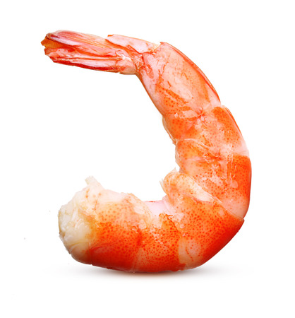 tiger shrimp: Cooked shrimp isolated on white background. Stock Photo