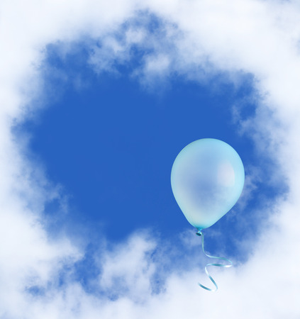 helium balloon: Blue balloon with ribbon flying into the sky.