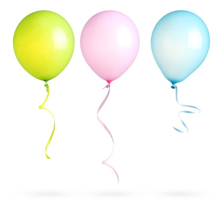 Balloons with ribbon isolated on white background. Stok Fotoğraf