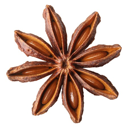 badiane: Anise star, badiane spice isolated on white background