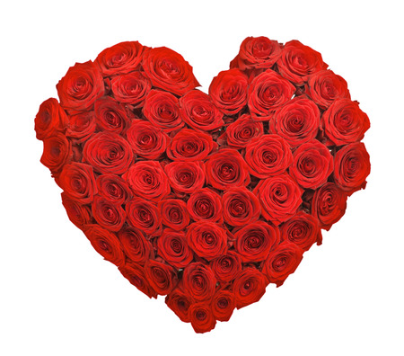 Red rose flower bouquet heart shape isolated on white background Фото со стока