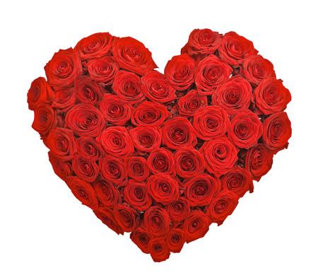 Rode roos boeket bloemen hartvorm op een witte achtergrond Stockfoto