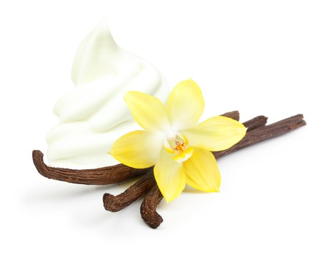 Vanilla pods, flower and ice cream isolated on white background
