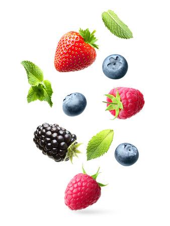 owoców: Spadające owoce z zielonym liści mięty na białym tle Zdjęcie Seryjne