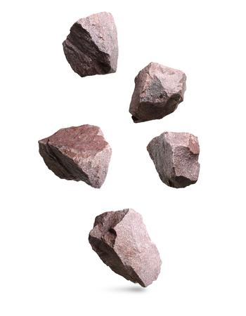 Granite stones falling,rocks set isolated on white background Stockfoto