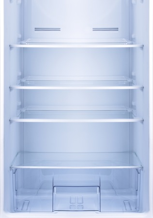 fridge: Empty open fridge with shelves, refrigerator. Stock Photo