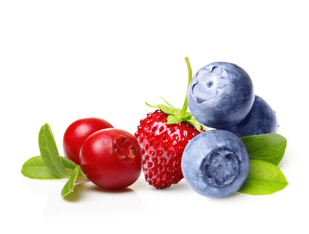 cowberry: Forest wild berry cowberry, strawberry and blueberry with leaves isolated.