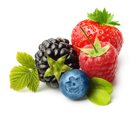Summer berry fruits. Berries. Raspberry, Strawberry, Blueberry, Blackberry Isolated on White Background
