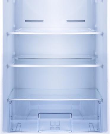 Empty open fridge with shelves, refrigerator. Standard-Bild
