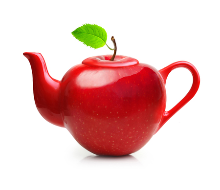 Red teapot from apple fruit isolated on white background Stock Photo