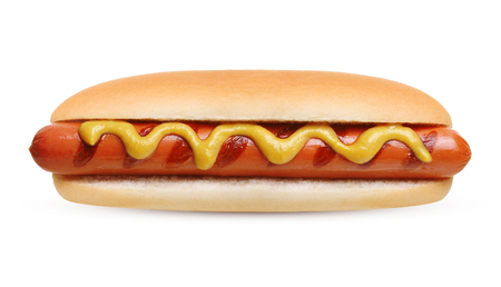 Hotdoggrill met mosterd op witte achtergrond wordt geïsoleerd die. Stockfoto
