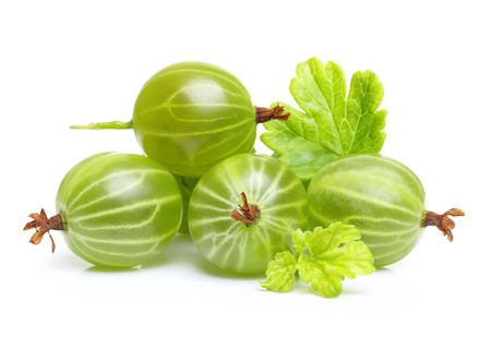 Ripe green gooseberry with leaf isolated on white