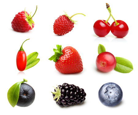 Different type of berry fruits isolated on white background.